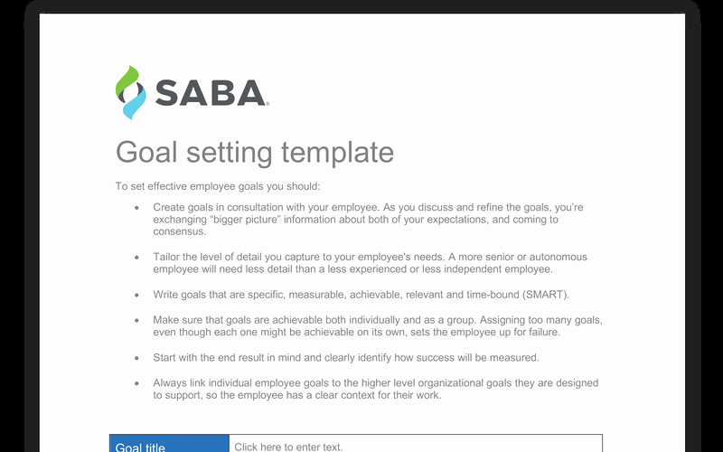 Employee Goal Setting Template Luxury Employee Goal Setting Template