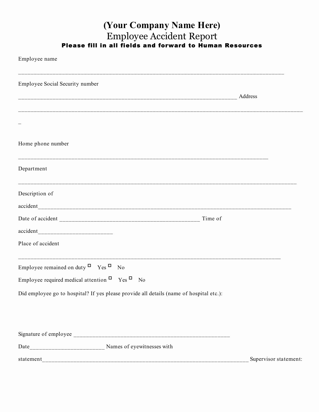 post employee accident report form