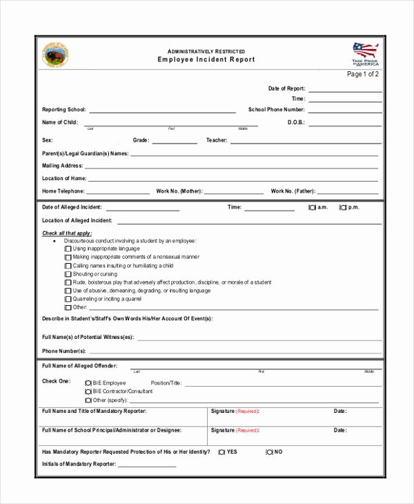 Employee Incident Report Template Inspirational 49 Report Samples Word Pages Pdf Docs
