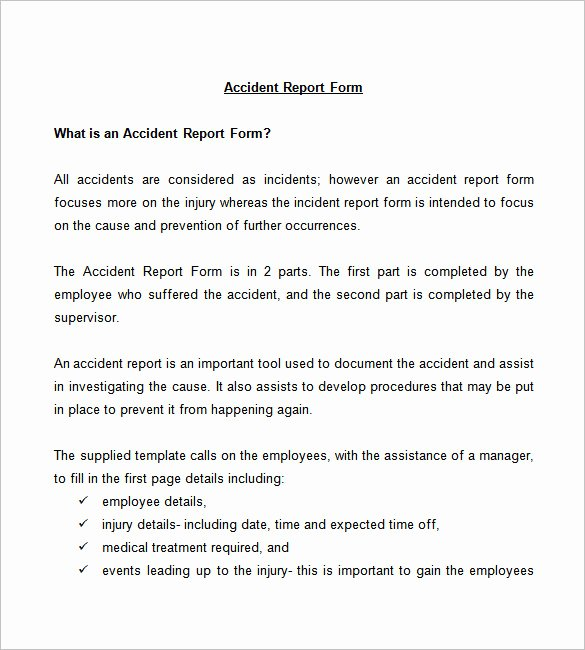 Employee Incident Report Template Lovely Employee Accident Report