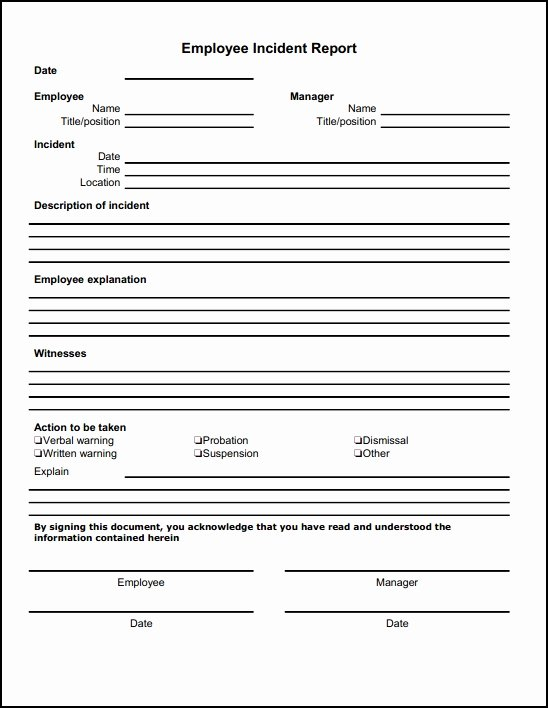 Employee Incident Report Template Lovely Employee Incident Report form Free Download Line Aashe