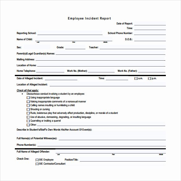 Employee Incident Report Template Lovely Employee Incident Report