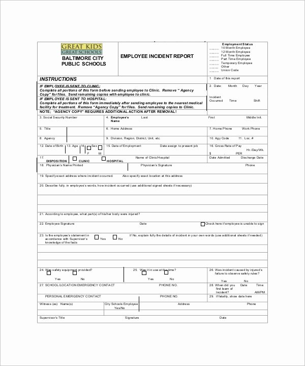 Employee Incident Report Template Lovely Incident Report Sample