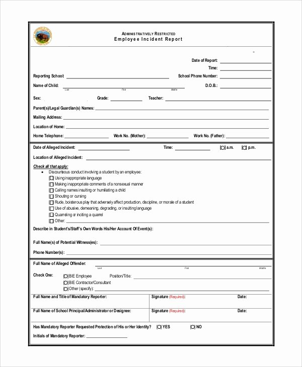 Employee Incident Report Template Luxury Sample Incident Report 14 Documents In Pdf Word Docs