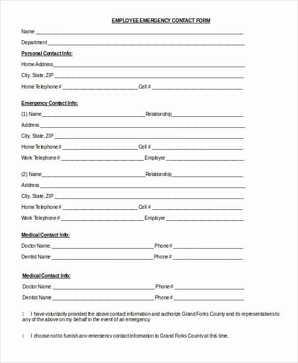 Employee Information forms Templates Awesome 8 Sample Emergency Contact forms Pdf Doc