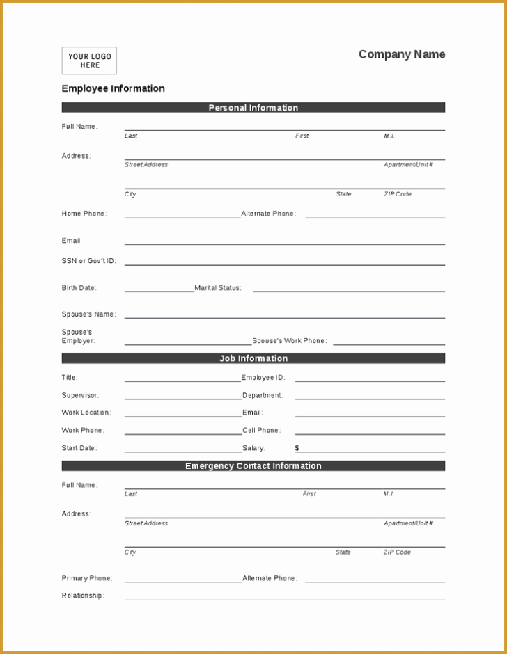 Employee Information forms Templates Beautiful Employee Personal Information form Template