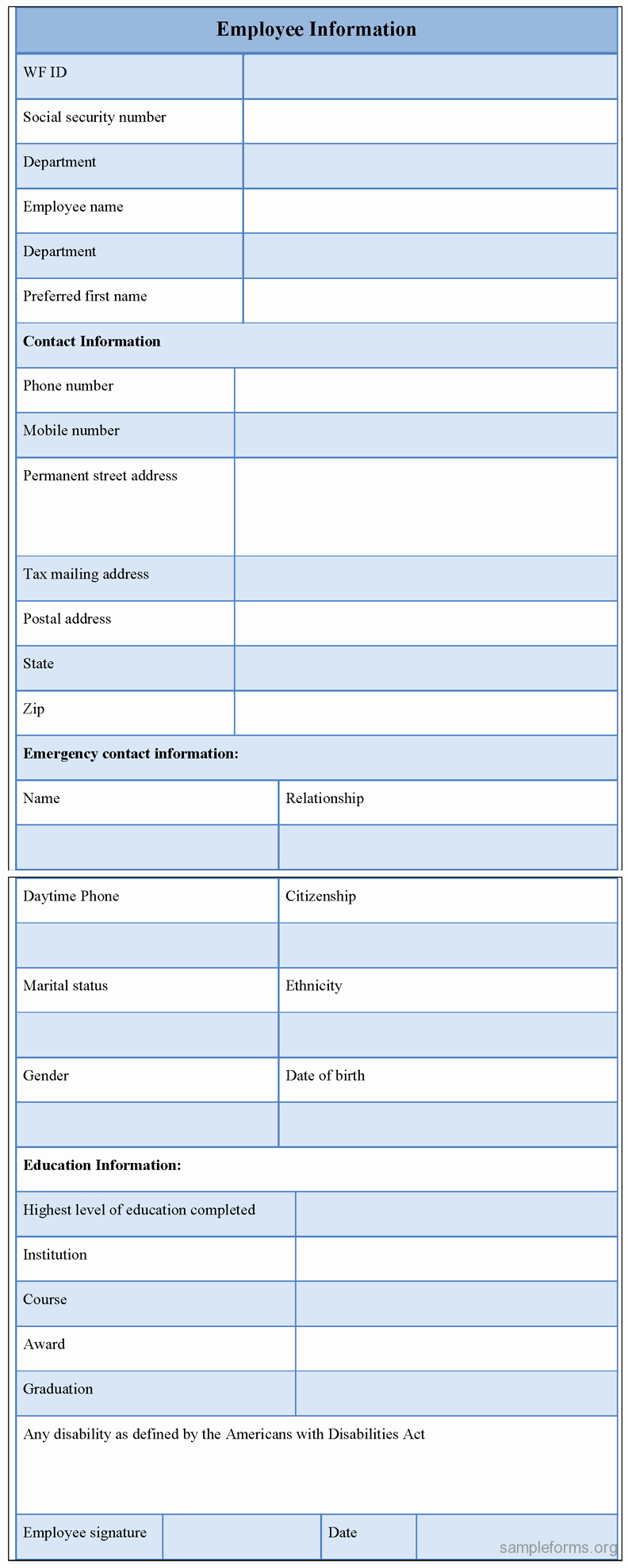 Employee Information forms Templates Best Of Employee Information form Sample forms
