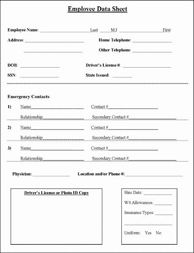 Employee Information forms Templates Fresh Employee Information Sheet Business
