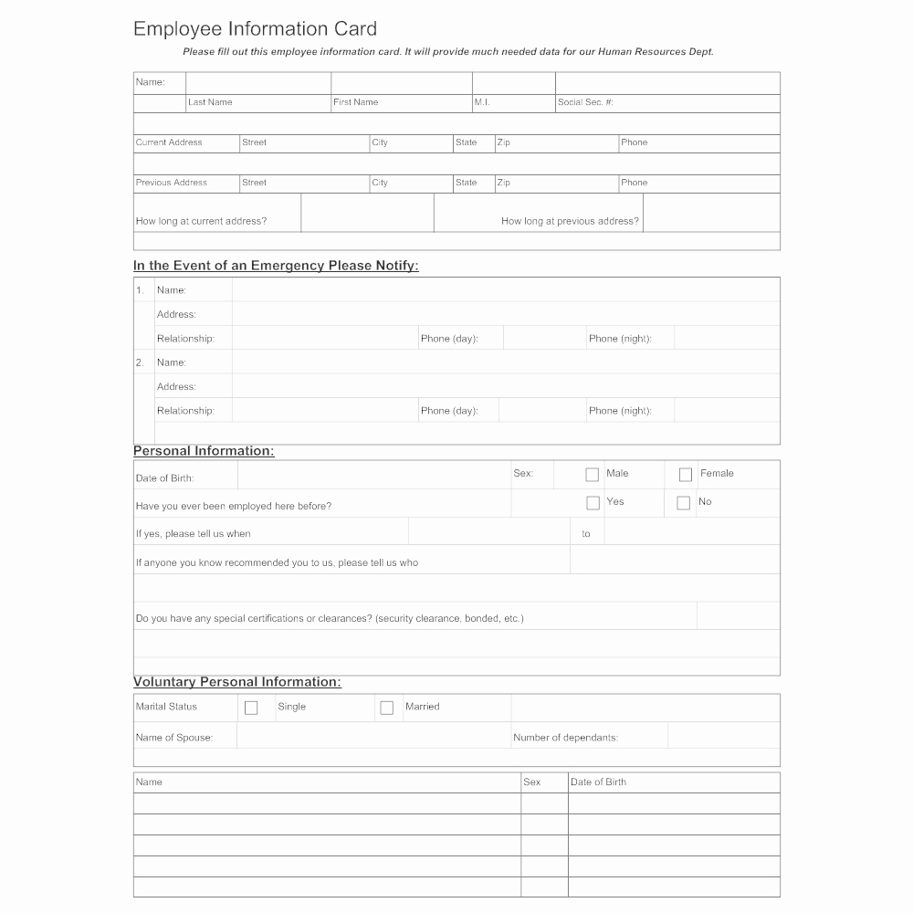 Employee Information forms Templates Fresh Employee Information Sheet