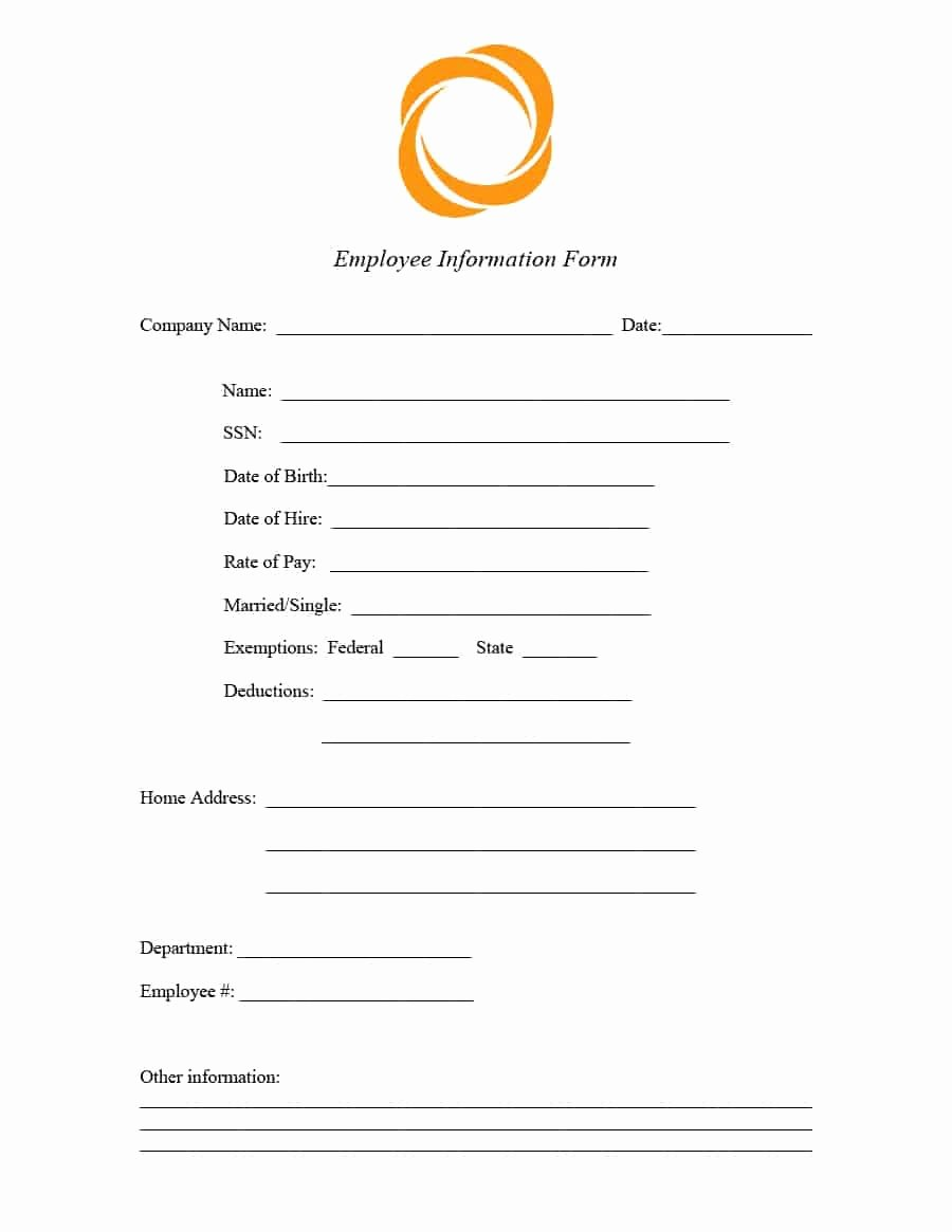 Employee Information forms Templates Lovely 47 Printable Employee Information forms Personnel