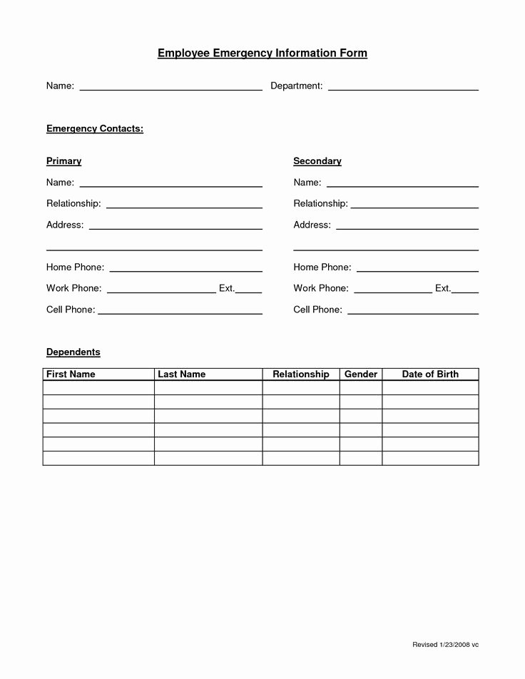 Employee Information forms Templates Lovely Employee Emergency form Employee forms
