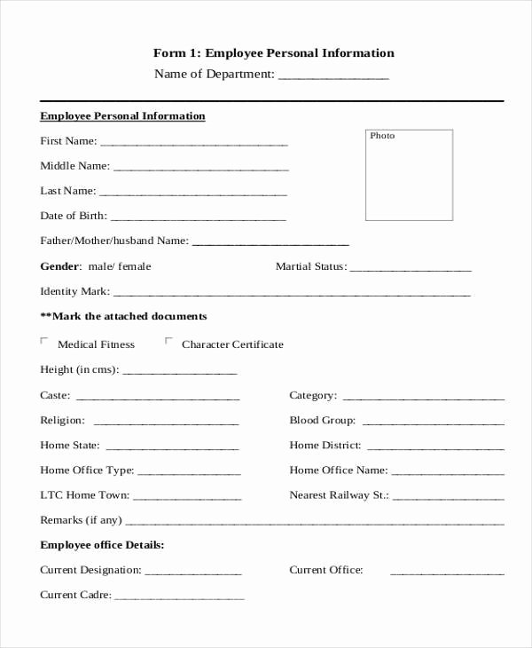 Employee Information forms Templates Luxury Free 8 Sample Personal Information forms