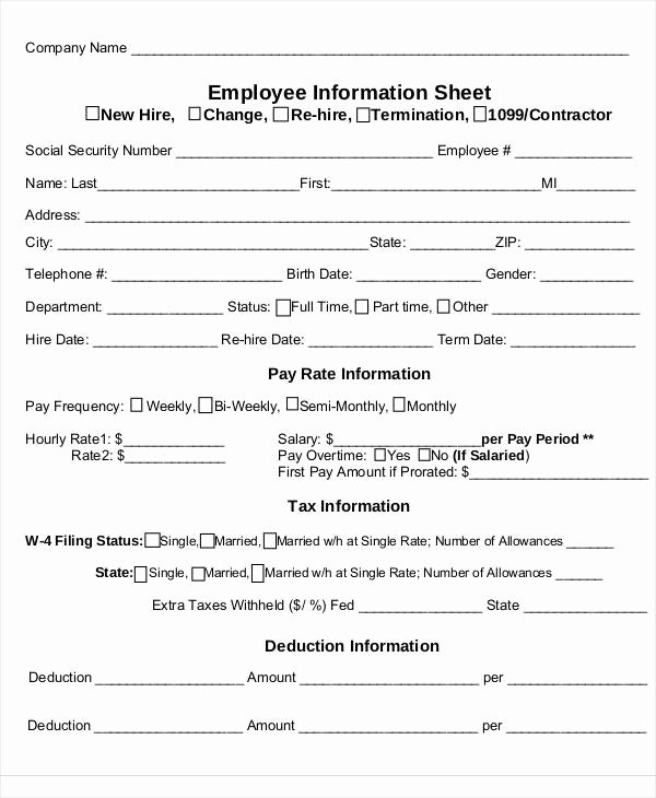 Employee Information forms Templates Unique 53 Information Sheet Examples