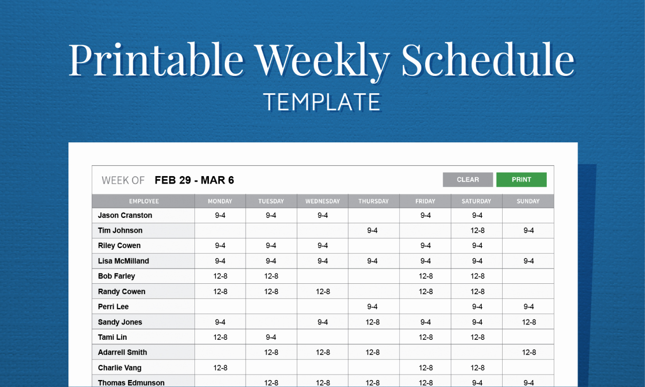 Employee Monthly Schedule Template Elegant Free Printable Weekly Work Schedule Template for Employee