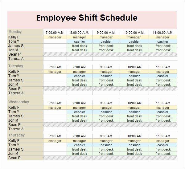 Employee Monthly Schedule Template Elegant Monthly Employee Shift Schedule Template