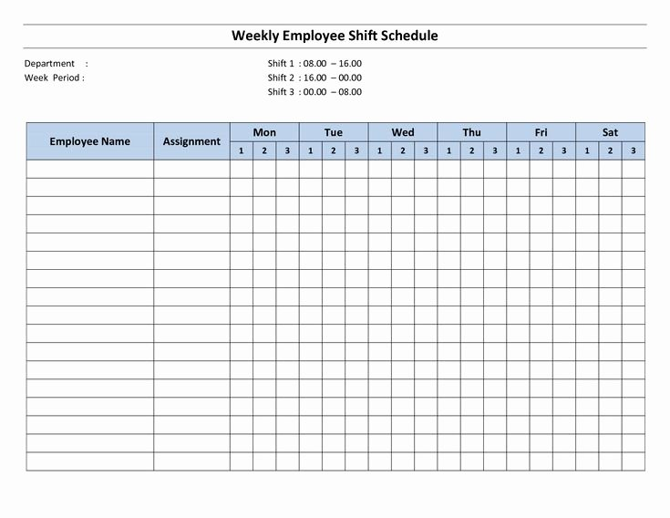 Employee Monthly Schedule Template Fresh Free Printable Employee Work Schedules