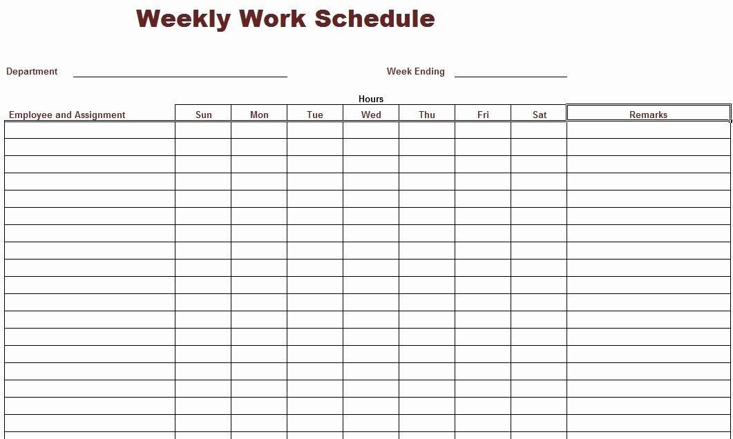 Employee Monthly Schedule Template Fresh Weekly Work Schedule Template