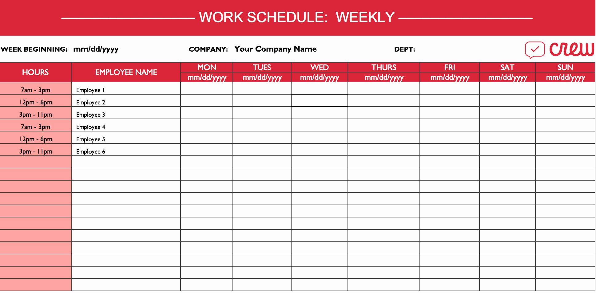 Employee Monthly Schedule Template Inspirational Weekly Work Schedule Template I Crew