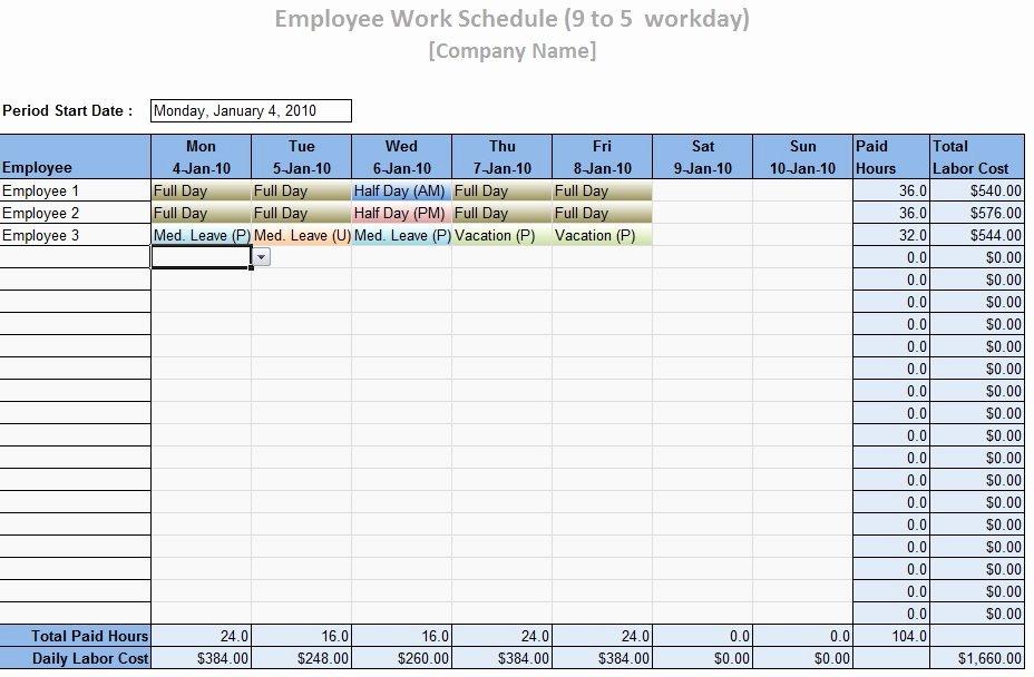 Employee Monthly Schedule Template Luxury Work Schedule Template