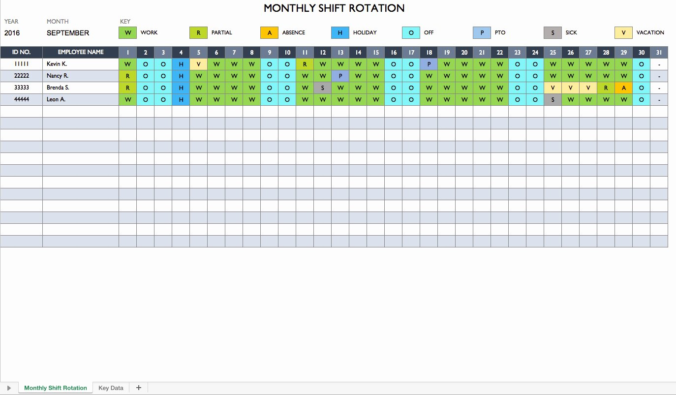 Employee Monthly Schedule Template Unique Monthly Employee Schedule Template