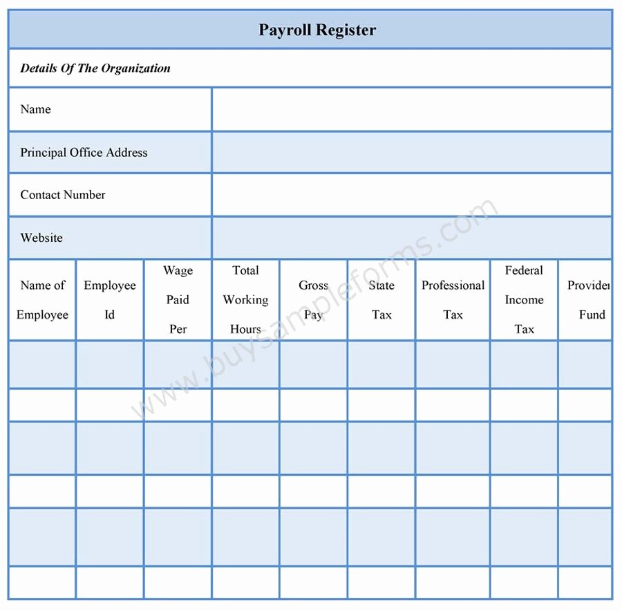 Employee Payroll Ledger Template Elegant Payroll Register forms