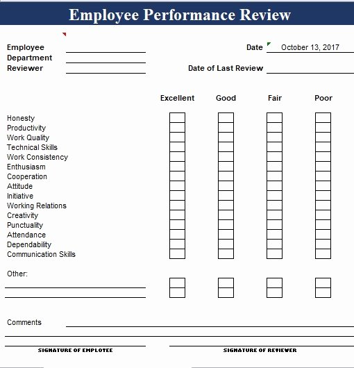 Employee Performance Review Template Awesome Simple Employee Performance Review Template Excel and Word