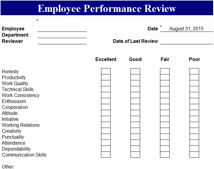 Employee Performance Review Template Best Of Employee Performance Review Template