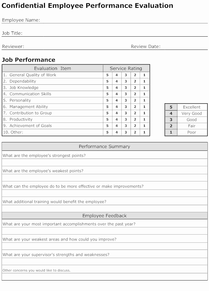 Employee Performance Review Template Lovely Evaluation form How to Create Evaluation forms