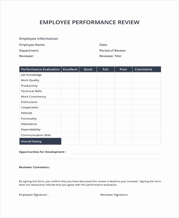 Employee Performance Review Template New 9 Sample Performance Review Templates Pdf Doc