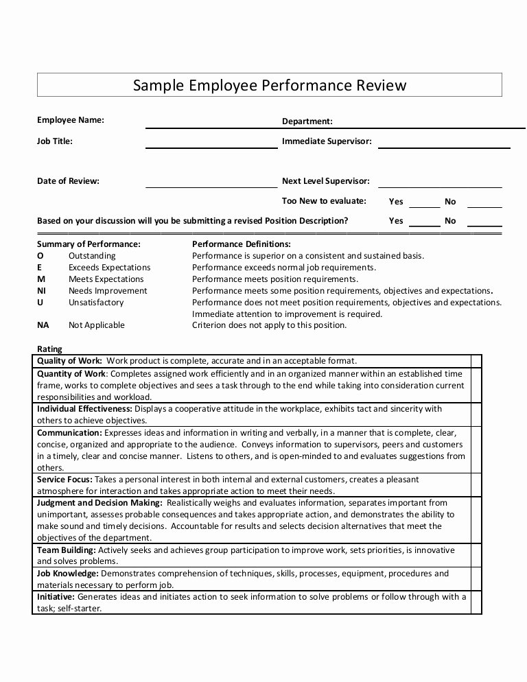 Employee Performance Review Template New Sample Employee Performance Review