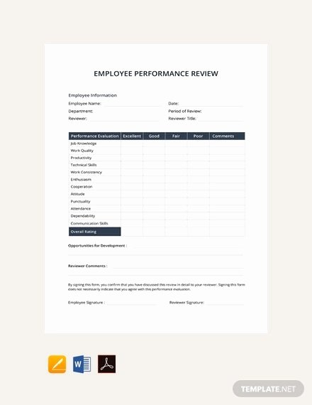 Employee Performance Review Template Unique 11 Sample Performance Review Templates Pdf Doc Google