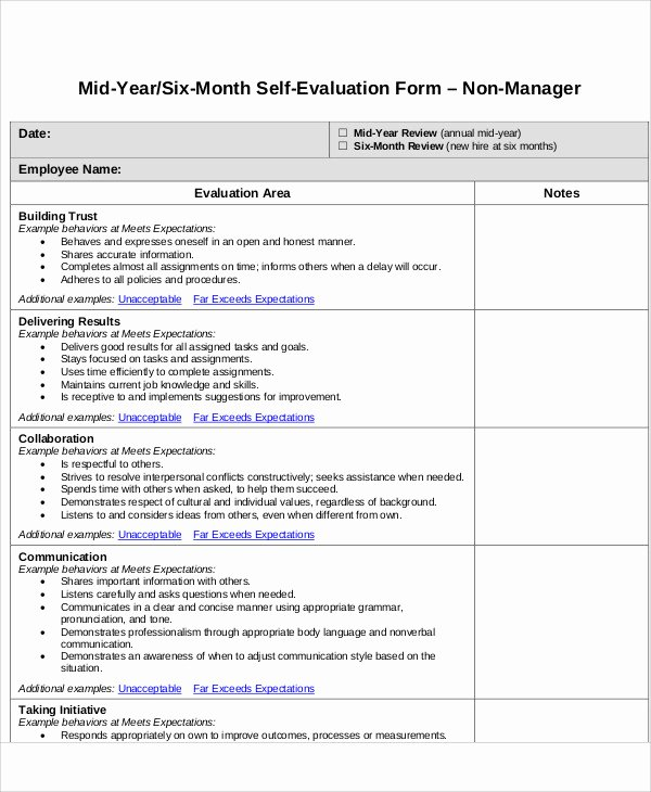 Employee Self Evaluation Template Awesome 7 Employee Self assessment Samples Examples In Word Pdf