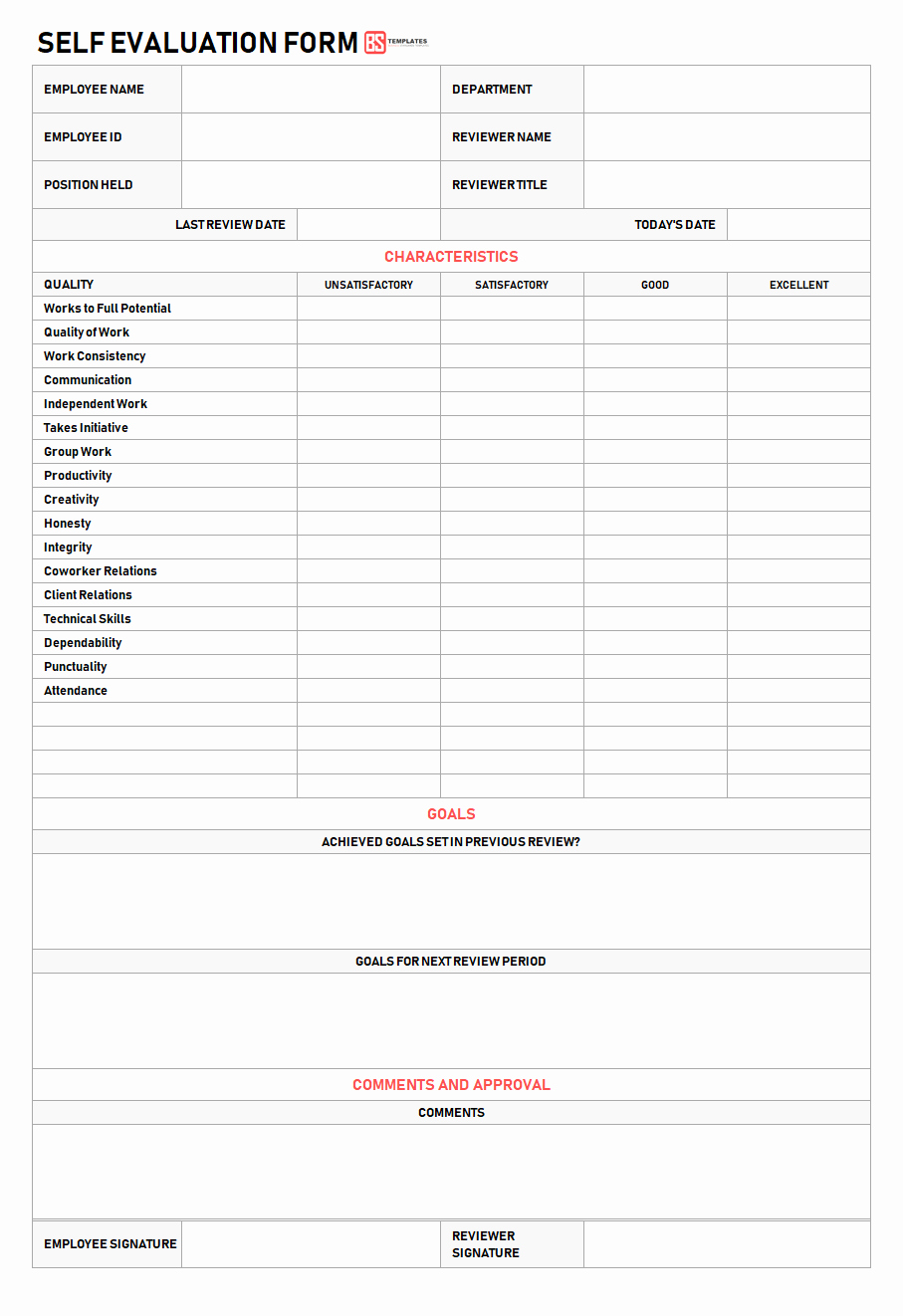 Employee Self Evaluation Template Elegant Self Evaluation Examples Samples & forms Quick Questions