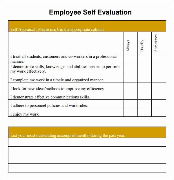 Employee Self Evaluation Template Fresh Free 14 Sample Employee Self Evaluation form In Pdf
