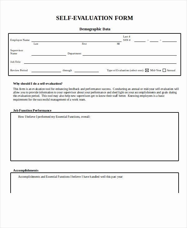 Employee Self Evaluation Template Inspirational Employee Evaluation form Example 13 Free Word Pdf