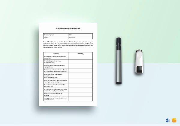 Employee Self Evaluation Template Inspirational Free 14 Sample Employee Self Evaluation form In Pdf