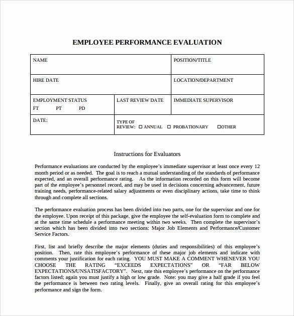 Employee Self Evaluation Template Inspirational Sample Employee Self Evaluation form 8 Free Documents