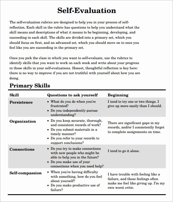 Employee Self Evaluation Template Lovely Free 7 Sample Self Evaluation Templates In Pdf