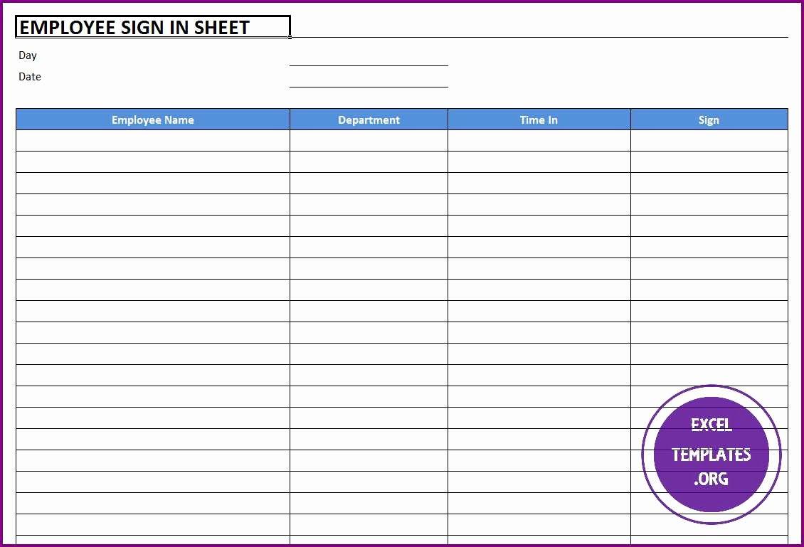 Employee Sign In Sheet Template Fresh Employee Sign In Sheet Template Excel Templates