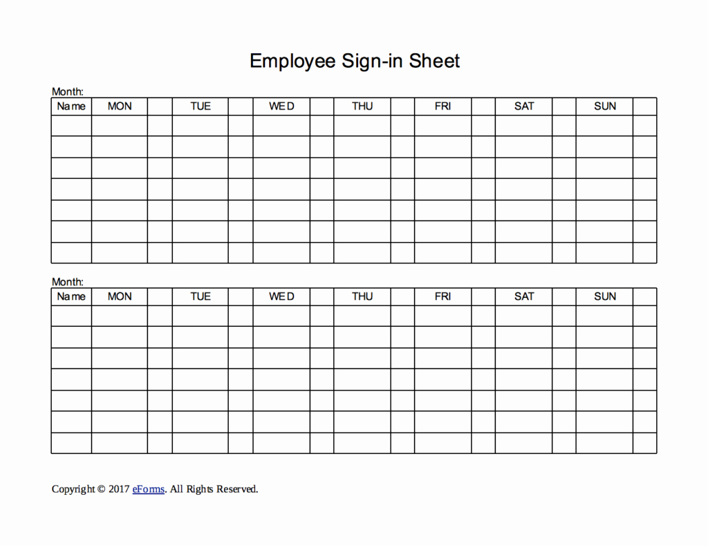 Employee Sign In Sheet Template Unique Two Week Employee Sign In Sheet Template