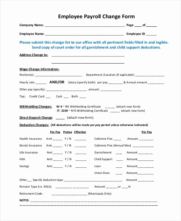 Employee Status Change form Template Awesome Free 10 Sample Payroll Change forms
