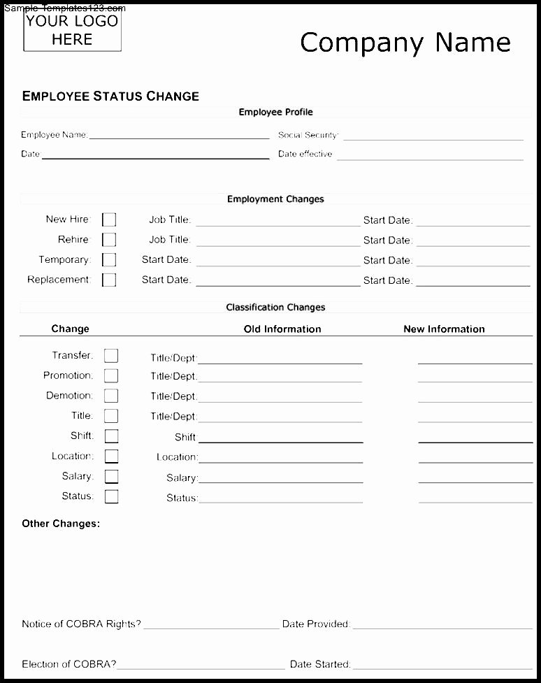 Employee Status Change form Template Best Of Template Gallery Page 7