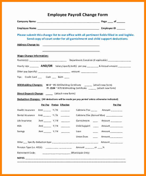 Employee Status Change form Template New 7 Payroll Change Notice Template
