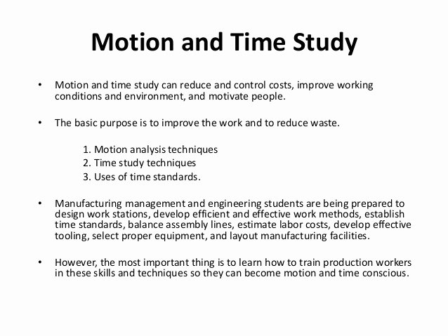Employee Time Study Template Awesome Motion and Time Study