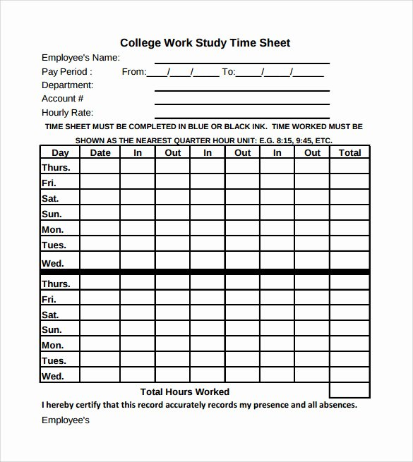 Employee Time Study Template Lovely Sample Work Timesheet Calculator 11 Documents In Pdf Word