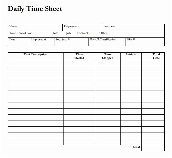 Employee Time Study Template Luxury Daily Time Sheet Printable Printable 360 Degree
