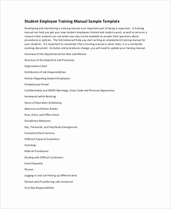 Employee Training Manual Template Unique 10 Free User Manual Template Samples In Word Pdf format