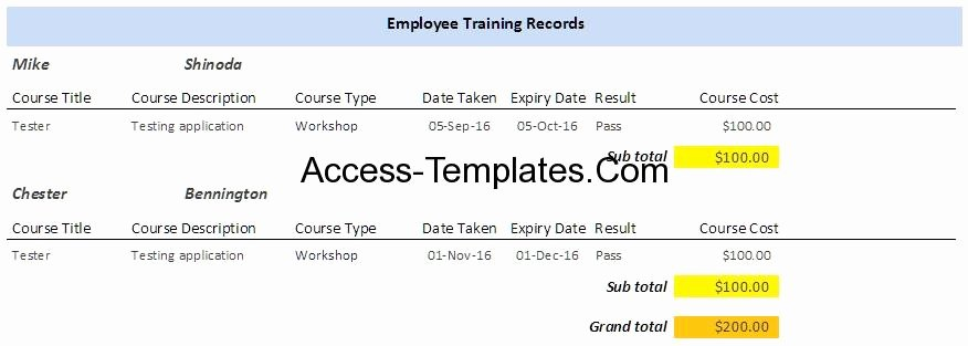 Employee Training Plan Template Awesome Employee Training Plan Template for Microsoft Access