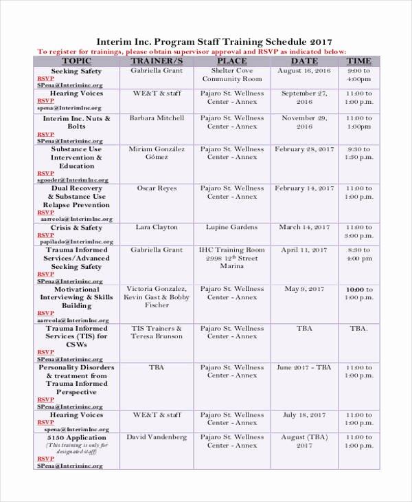 Employee Training Plan Template Beautiful 14 Employee Training Schedule Template Free Sample