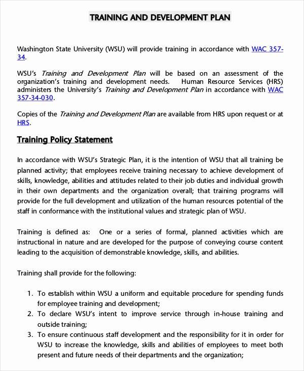 Employee Training Plan Template Fresh 6 Employee Training Plan Templates Free Samples